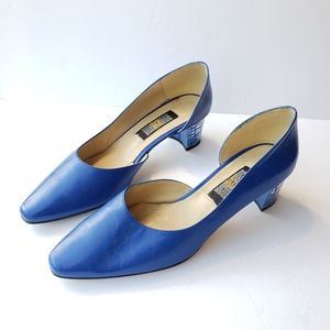 Sergio Zelcer royal blue leather chunky clear heel